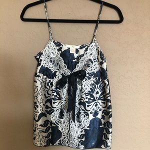 Sin printed silk cami with lace front detail